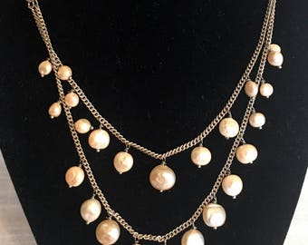 Vntg Pearl Chain Necklace/Freeform Natural Pearls/Double Row Necklace/