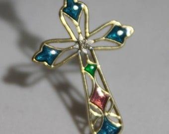 14K Yellow Gold Multi-colored Enamel Diamond Filigree Cross Pendant
