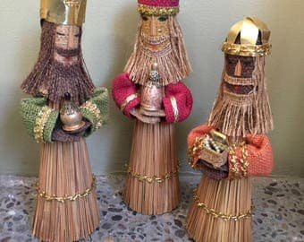Three Wise Men kings, mid century Christmas decor, burlap, cardboard and straw, with gold metallic trim, faux jewels, rustic, 1960's era