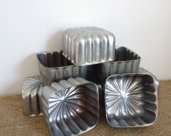 Vintage kitchenware, unusual tin molds, vintage bakeware, candle tart molds, desert, jello, tart pans, tart molds
