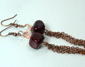 Blood Red Earrings with Antique Copper Chain and Nickle-Free Earwires - Chain Dangle Earrings, Gifts for Her, Handmade in the USA