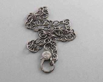 Pave Diamond Lobster, Pendant Chain,  --- 3 FINISHES with Custom Length, Factory soldered links w/ Pave Diamond Clasp, (PAV/CHN/16)
