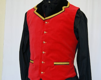 Red Velvet Military waistcoat chest 42 or 38 inches goth steampunk Obsidian SALE