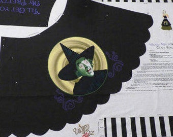 """Wicked Witch Apron Wizard of Oz Fabric Craft Panel """"I'll get you, my pretty"""""""
