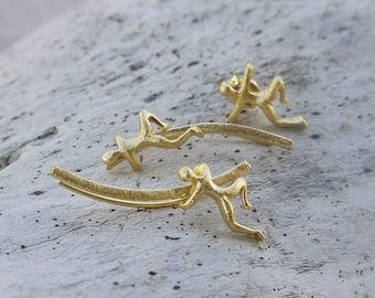 Climbing man gold ear climbers set of 3, silver ear climbers, gold ear crawlers, silver stud ear cuffs, gold stud earrings, silver earrings