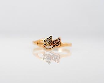 Vintage Black Hills Gold Yelloiw Rose Green Ring Band Landstrom 10k Wedding Promise
