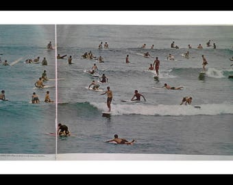 Surfing in Malibu 1966 Life Mag Spread 2 pages Surfboards, Woodies, & Bikinis.  Cool iconic early surfing poster Man Cave Surfing Fans 13x10