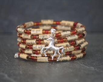 The Red Pony, Monterey, John Steinbeck, The Red Pony gift, horse bracelet, book lover gift, book page bracelet, Steinbeck gift, horse lover