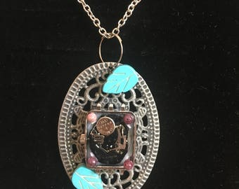 Steampunk Necklace with Magnesite & Tourmaline