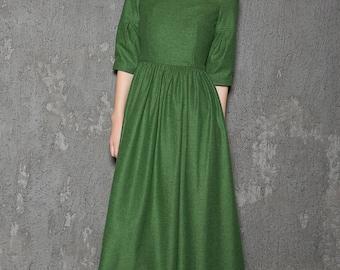 Wool Dress, emerald green dress, green dress, long wool dress, wool dresses, womens dresses, maxi dress, long dress, dress, winter dressC727