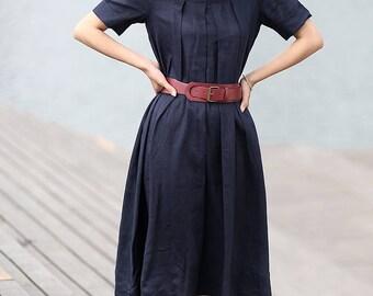 Summer Dress, womens dresses, linen dresses for women, dress, linen dress, plus size womens dresses, navy linen dress, causal dress  (C270)
