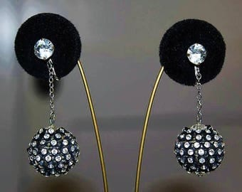 Vintage High End Disco Ball Rhinestone Black Dangle Long Earring E30