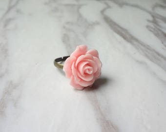 Fashion antique copper pink resin with embossed ring 0385
