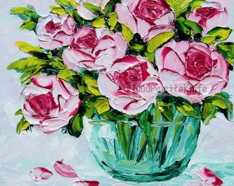 Pink Rose Oil Painting Flower Floral Still Life Wall Art Textured Palette Knife Impasto For Her Wedding Cottage Chic Small Canvas 8x8