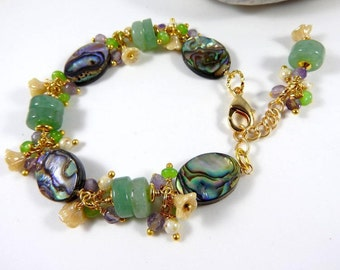 Andalusian * BRACELET Aventurine Abalone natural gold plated.