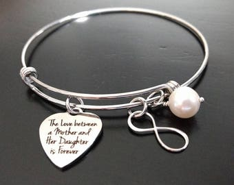The Love Between a Mother and Her Daughter Is Forever Stainless Steel Adjustable Bangle Bracelet Gift for Daughter