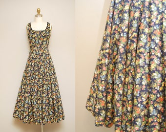 Vintage Laura Ashley Maxi Dress / 80s Blue Floral Sleeveless Long Dress / 80s Tea Party Dress / Small