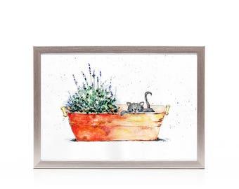 Copper pot, Lavender, Kitten art print from original watercolor painting, wall art, kids art, animal watercolor art, nursery gift under 25