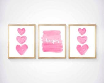 Girls Prints, Set of 3 - 8x10, Hot Pink Wall Art, Hot Pink Nursery Decor, Hot Pink Girls Print, Kids Hot Pink Decor, Girls Bedroom Prints