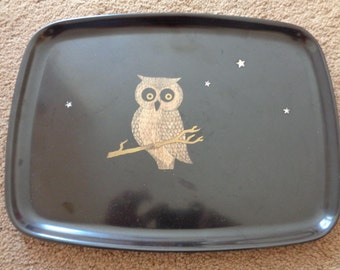 """Vintage,Mid Century """"COUROC""""  Tray   """"OWL on BRANCH"""""""