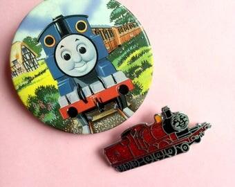 Vintage PAIR Thomas Tank Engine enamel pin badge - hard enamel - Lapel Pin Brooch trains
