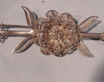 Fabulous Pin Shaped Like an Arrow Filigree Design 1920s-30s Wow!