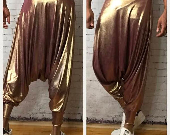 Metallic Stand-Out Unisex Dropped Crotch  Y3 Inspired Harem Pant.