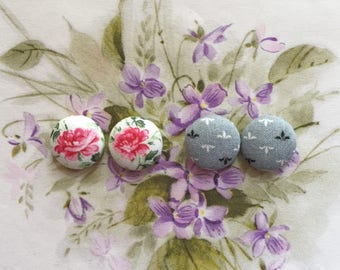 Fabric Button Earrings / Set of 2 / Bulk Jewelry / Pink and Gray / Gifts for Her / Wholesale Earrings / Handmade Accessories