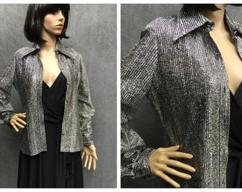 70's Silver and Black Sparkly Metallic Button Down Disco Shirt by Adelaar // Women's Size Medium