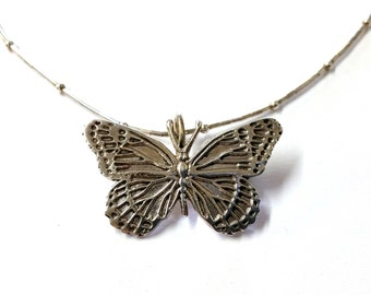 Sterling Silver Butterfly Pin / Pendant Necklace