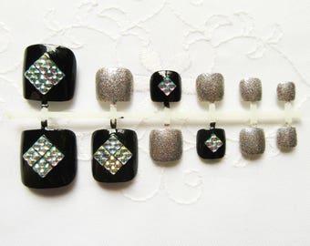 Black Fake Toenails, Fake Nails, Toenails, Pedicure, Toe Nails, Press on, Acrylic, Nails