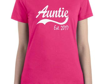 auntie shirt, auntie gift, AUNTIE EST 2017, pregnancy announcement, reveal to aunt, reveal to family, new aunt gift, aunt to be gift, auntie