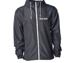 Custom Embroidery Mens Solid Contrast Zipper Hooded Wind Windbreaker Jacket