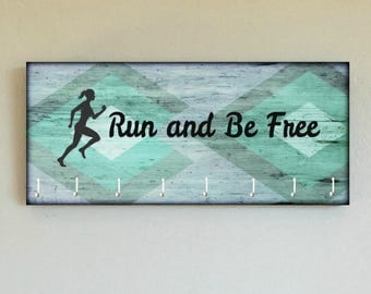 """Race Medal Holder /  Race Medal Hanger. """"Run and be Free"""" Wood Wall Mounted Wood Organizer. CUSTOMIZATION Available"""