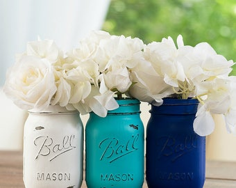 Blue, Turquoise, White Painted Distressed Mason Jars