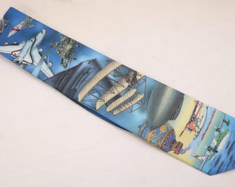 "Rare 1997 Vintage Ralph Marlin ""BICENTENNIAL Of FLIGHT II "" Abstract Patterned Multicolor Tie"