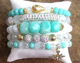 BARBADOS STACK- 5 PC White Ab Pave Rhinestone Tube Moonstone Gemstone Clear Blue Mint Pave Gold Crystal Beads Star Charm Stretch Bracelets