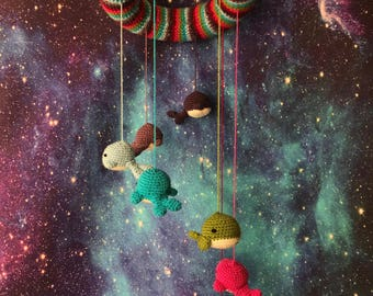 Whales of the Universe Crochet Mobile