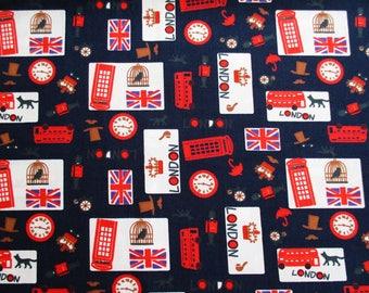 London Cotton Fabric, British, UK Landmark, United Kingdom Union Jack Tourist Attraction Britain, Big Ben, London eyes, Bath Curtain, CT675