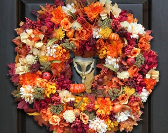 Fall Front Door Wreaths, Fall Floral Wreaths, Pumpkin Wreaths, Fall Door Wreath, Decor Fall Wreath, Autumn Wreaths, Colorful Fall Wreath