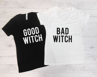 BFF Shirts, Halloween Party Shits, Matching Halloween Shirts, Good Witch and Bad Witch, Good Witch Bad Witch Tees, Cute Matching Shirts
