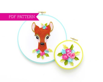 PDF Pattern, Christmas Ornament, Deer Head, Deer Embroidery Design, Felt Deer, Little Deer Pattern, Felt Roses, Hoop Art, Felt Flowers