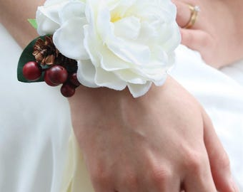 White Gardenia and Red Berry Silk Wrist Corsage