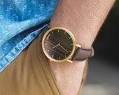 Wooden Watch, Men's Women's Wood Watch, Walnut Wood Gold Watch, Brown Leather Strap - HELM-WG