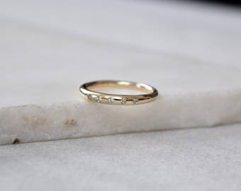 Gold Diamond Ring Diamond Wedding Band Round Wedding Band Gold Diamond Band Round Diamond Band