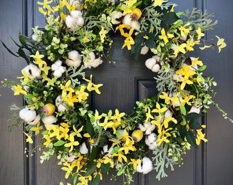 Forsythia Wreath, Yellow Wreaths, Cotton Boll Wreaths, Spring Wreaths, Yellow Door Wreaths, Spring Door Decor, Forsythia Wreaths, Cotton