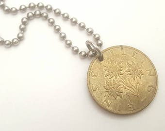 1990  Austrian  Coin Necklace - Schilling - edelweiss flower  - Stainless Steel Ball Chain or Key-chain