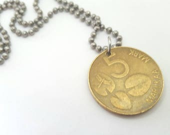 1993 Coin Necklace  - Stainless Steel Ball Chain or Key-chain - Chile - Finland - dragonfly - lily pad - seal