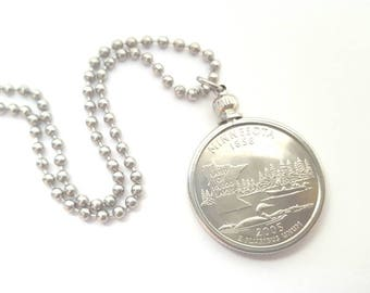 Minnesota State Quarter Coin Necklace with Stainless Steel Ball Chain or Key-chain - 2005 - Land of 10,000 Lakes