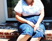 Plus Size - Vintage Pastel Blue Ruffle Neckline Blouse (Size 22W)